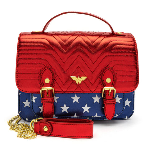 Loungefly X DC Comics Wonder Woman Red White and Blue Gold Chain Crossbody Bag