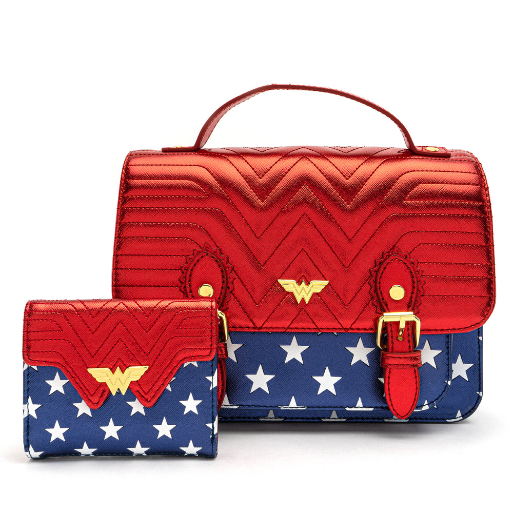 Loungefly X DC Comics Wonder Woman Red White and Blue Gold Chain Crossbody Bag-zoom