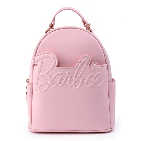 Loungefly X Barbie™ Logo Rose Gold Chain Strap Convertible Mini Backpack