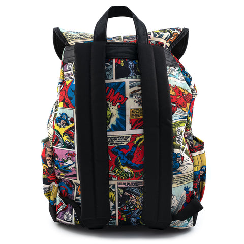 Marvel Comic Strip Nylon Slouch Backpack