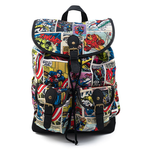 Loungefly X Marvel Comic Strip Nylon Slouch Backpack