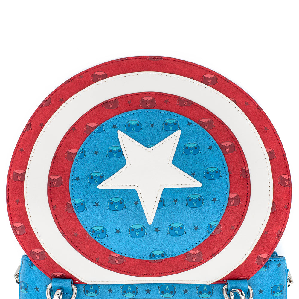 Pop! by Loungefly X Marvel Captain America Debossed Shield Crossbody Bag-zoom