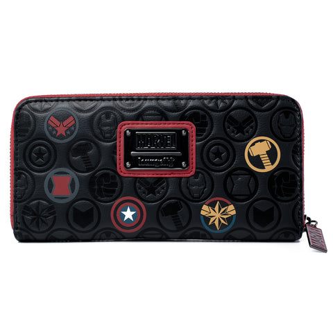 Loungefly X Marvel Avengers Debossed Icons Zip Around Wallet