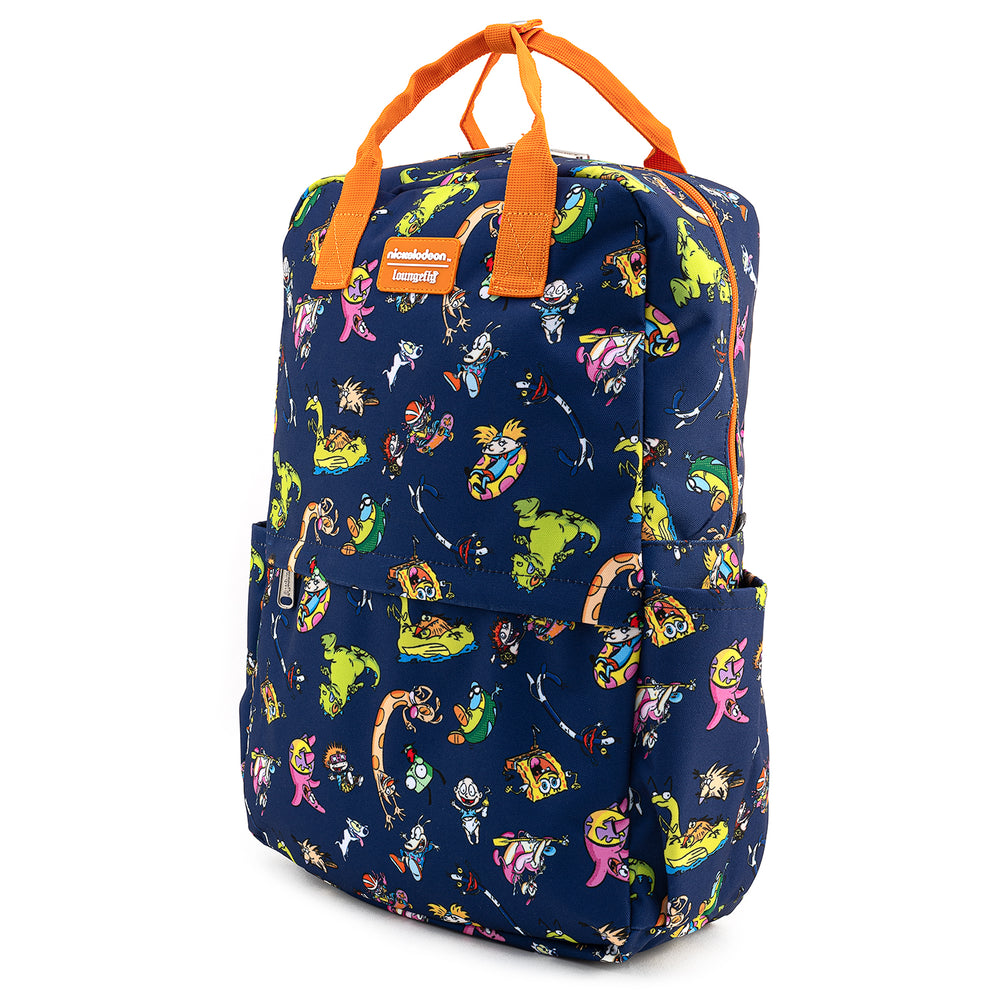 Nickelodeon Rewind Cartoons AOP Square Nylon Backpack-zoom