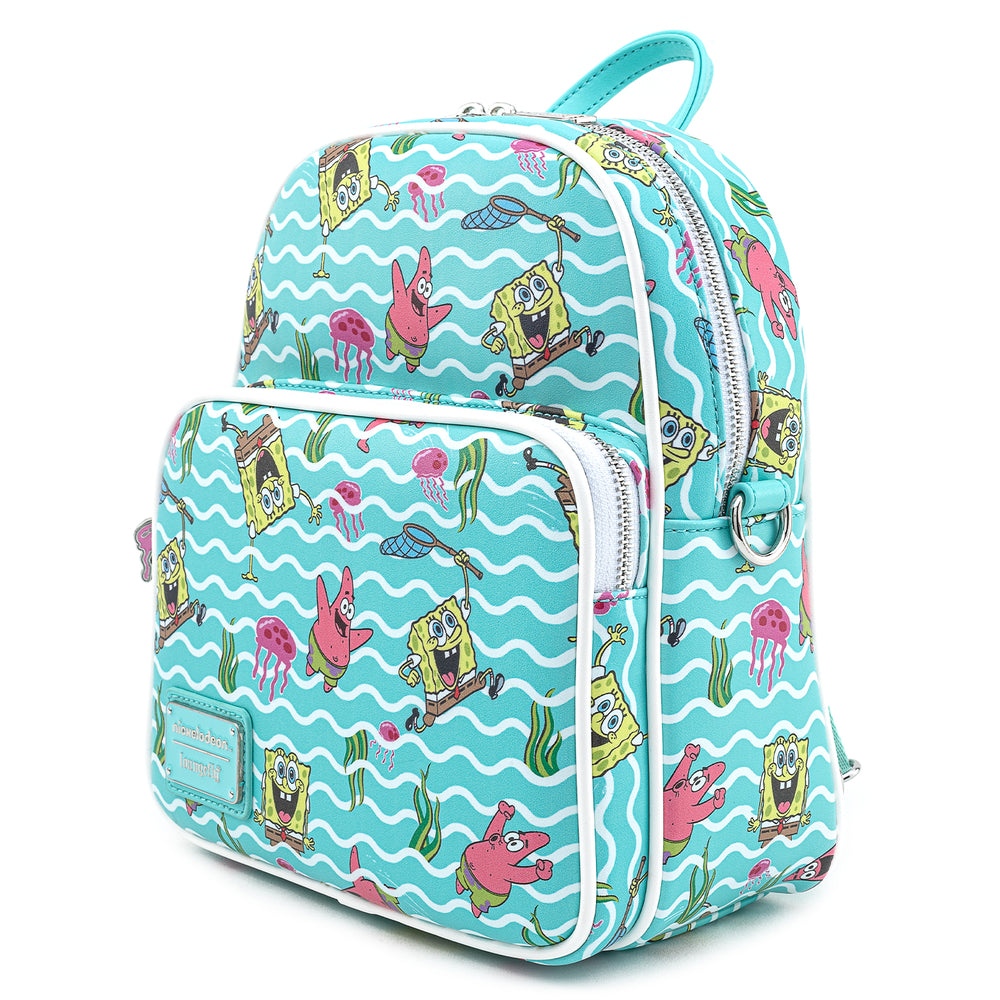 Loungefly X Nickelodeon Spongebob Jelly Fishing AOP Convertible Mini Backpack-zoom