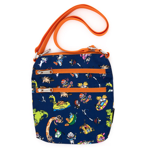Loungefly X Nickelodeon Rewind Cartoons AOP Nylon Passport Bag