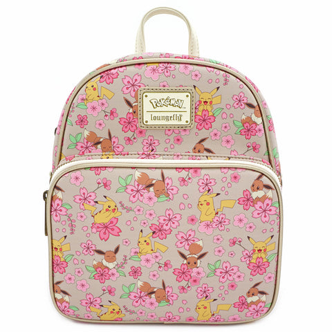 Loungefly X Pokemon Pikachu and Eevee Floral Friendship AOP Convertible Mini Backpack