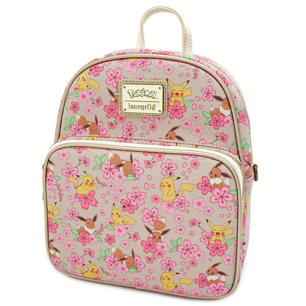 Loungefly X Pokemon Pikachu and Eevee Floral Friendship AOP Convertible Mini Backpack-zoom