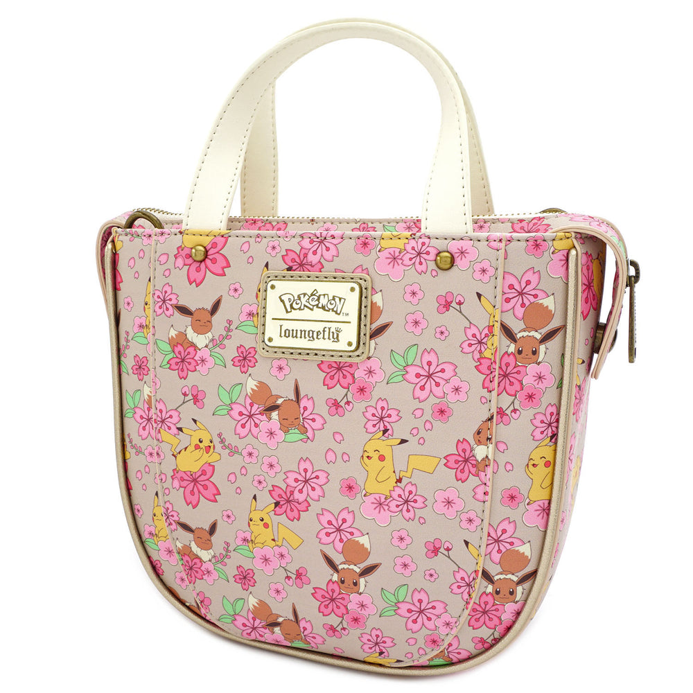 Loungefly X Pokemon Pikachu and Eevee Floral Friendship AOP Crossbody Bag-zoom