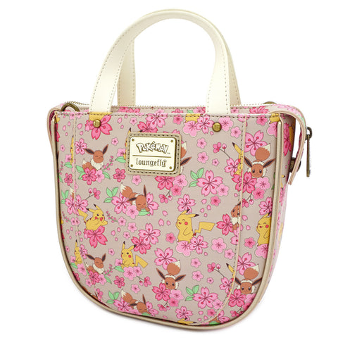 Loungefly X Pokemon Pikachu and Eevee Floral Friendship AOP Crossbody Bag