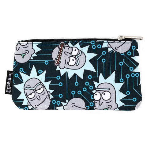 Loungefly Rick And Morty Computer Chip AOP Nylon Pouch