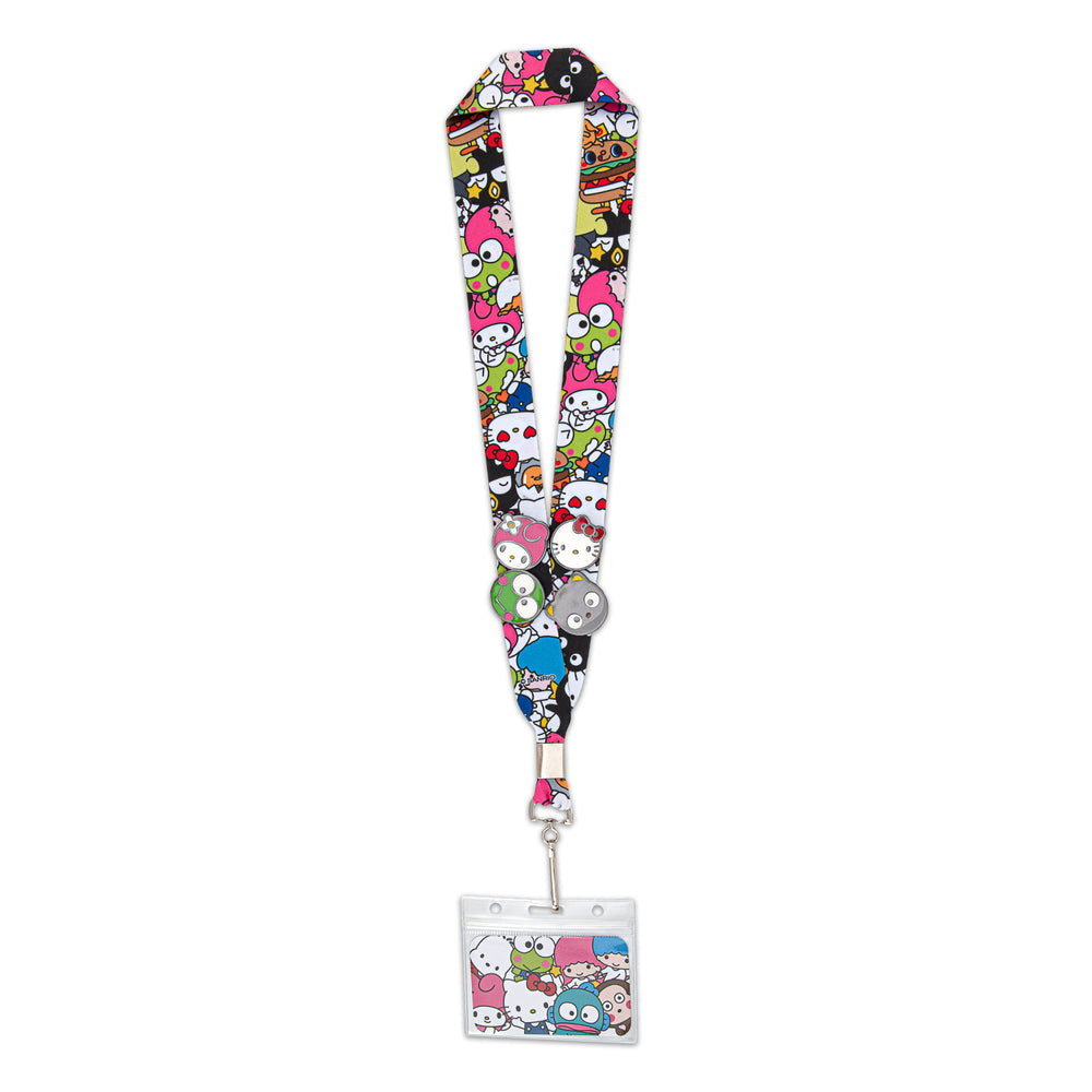 Loungefly X Sanrio Group AOP Lanyard with 4 pins-zoom