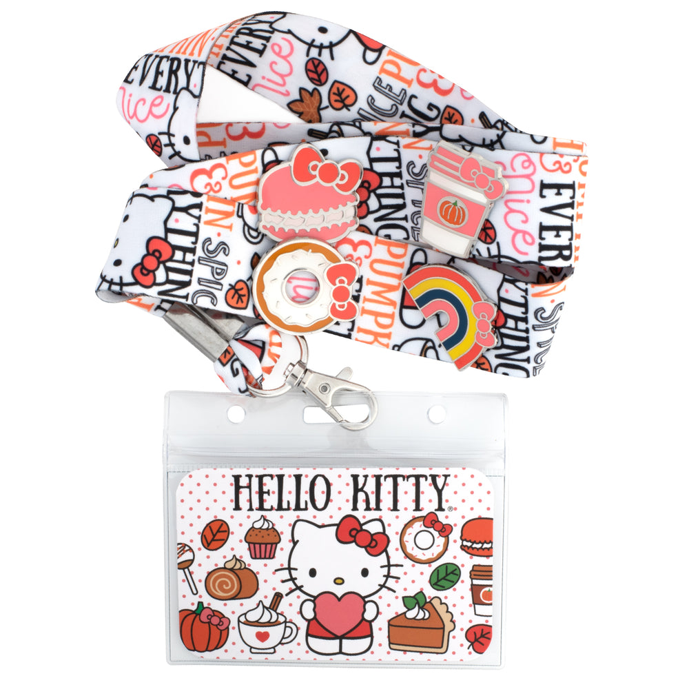 Hello Kitty Pumpkin Spice Lanyard with Cardholder & 4 Enamel Pins-zoom
