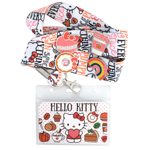 Hello Kitty Pumpkin Spice Lanyard with Cardholder & 4 Enamel Pins