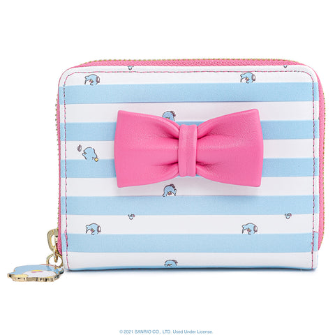Sanrio Tuxedo Sam Zip Around Wallet Front View Pink Bow