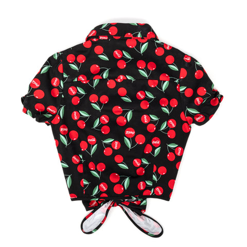 "Stitch Shoppe X Coca-Cola Bottle Cap Cherries AOP Button Down ""Nadia"" Top"