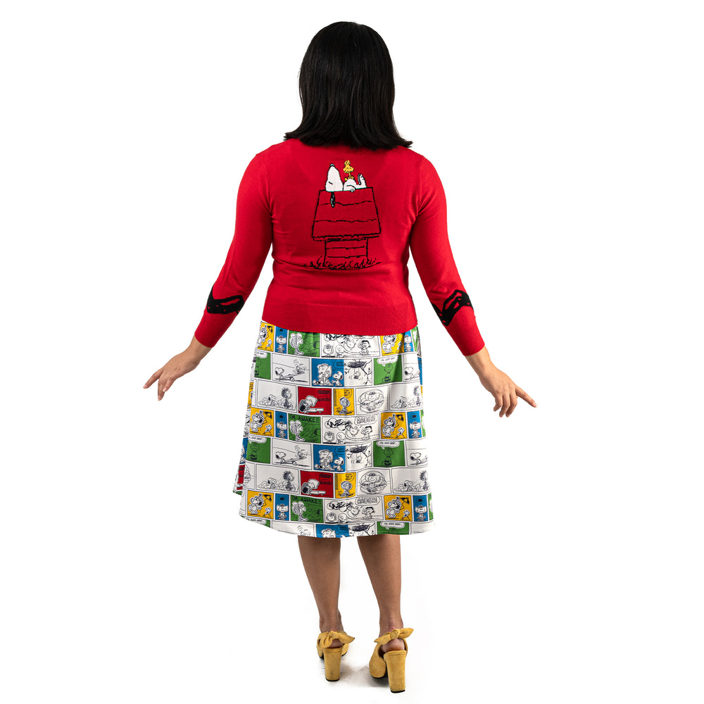 "Peanuts Stitch Shoppe Snoopy Dog House ""Alexa"" Cropped Cardigan Sweater-zoom"