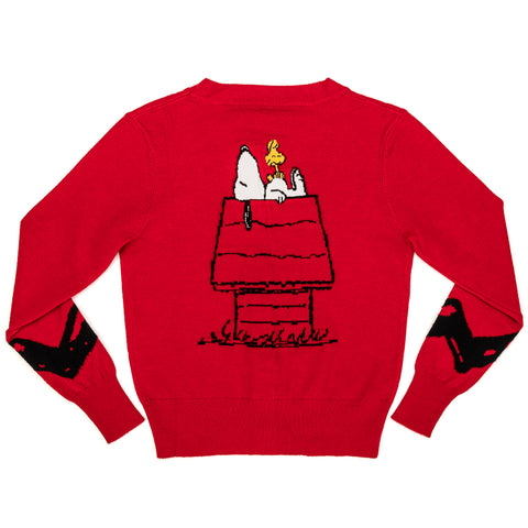 "Peanuts Stitch Shoppe Snoopy Dog House ""Alexa"" Cropped Cardigan Sweater"