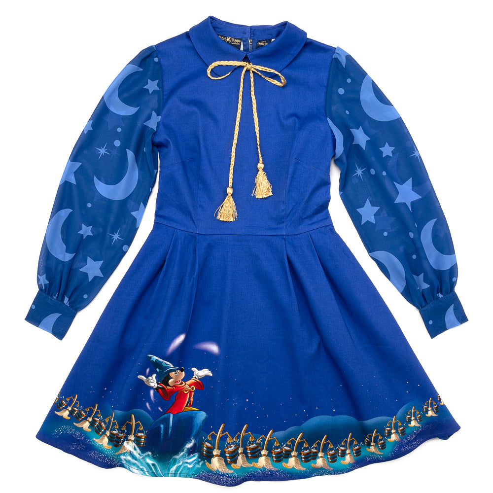 "Disney Fantasia Sorcerer's Apprentice ""Claire"" Long Sleeved Neck Tie Dress-zoom"