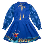 "Disney Fantasia Sorcerer's Apprentice ""Claire"" Long Sleeved Neck Tie Dress"
