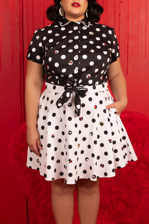 "Disney Stitch Shoppe Mickey Minnie Peek A Boo Dot ""Nadia"" Fashion Top"