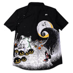 "Disney Stitch Shoppe The Nightmare Before Christmas Spooky Scene ""Derrick"" Button Front Top"