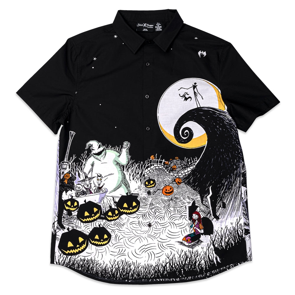 "Disney Stitch Shoppe The Nightmare Before Christmas Spooky Scene ""Derrick"" Button Front Top-zoom"