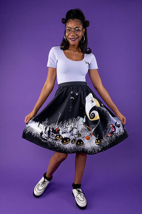 "Disney Stitch Shoppe The Nightmare Before Christmas Spooky Scene ""Sandy"" Skirt"