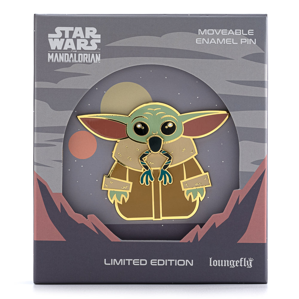 "Star Wars The Mandalorian ""The Child"" Eating Frog LE 1500 3"" Collector Box Enamel Pin-zoom"