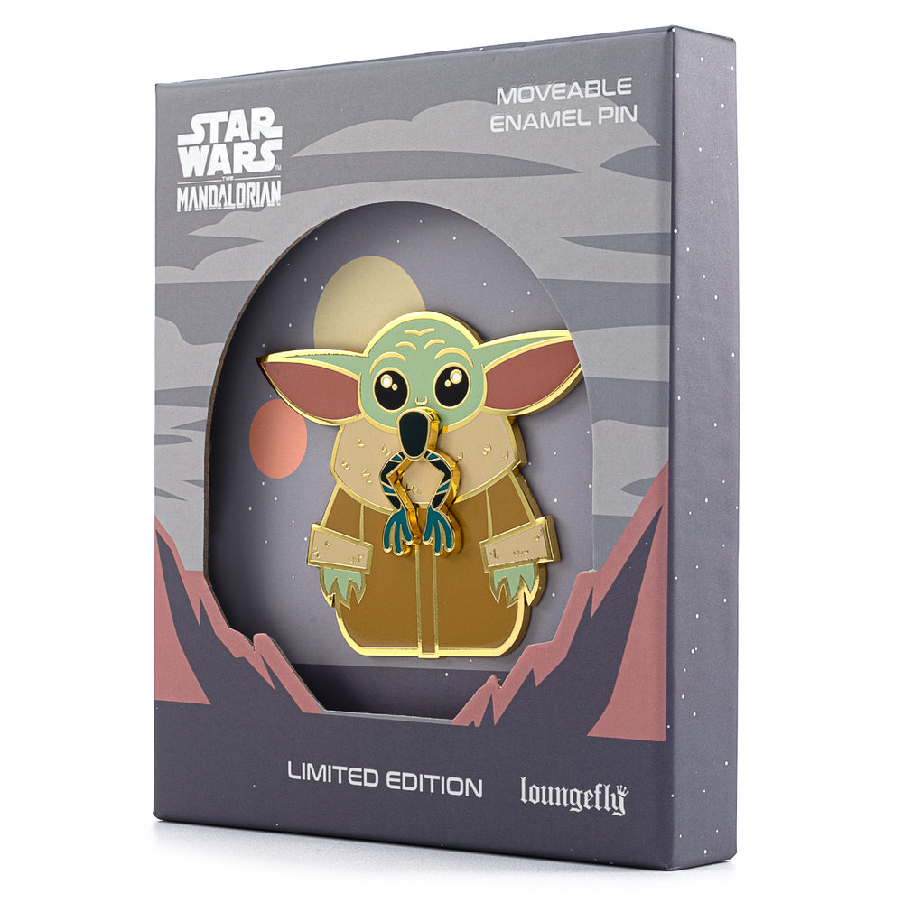 "Loungefly X Star Wars Mandalorian The Child Eating Frog LE 1500 3"" Collector Box Enamel Pin-zoom"