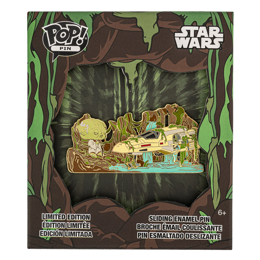 Star Wars Yoda Force Collector Box Sliding Enamel Funko Pop! Pin Front in Box View-zoom