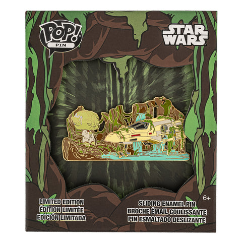 Star Wars Yoda Force Collector Box Sliding Enamel Funko Pop! Pin Front in Box View