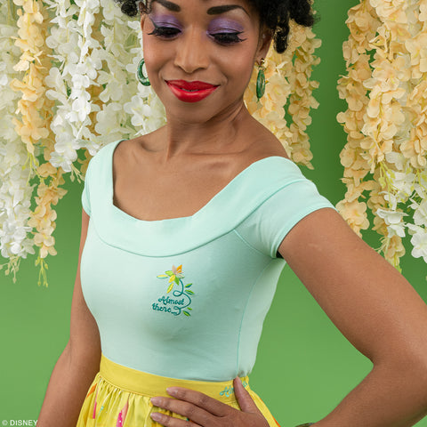 "Disney Stitch Shoppe Princess Tiana Embroidered ""Dizzy"" Fashion Top"