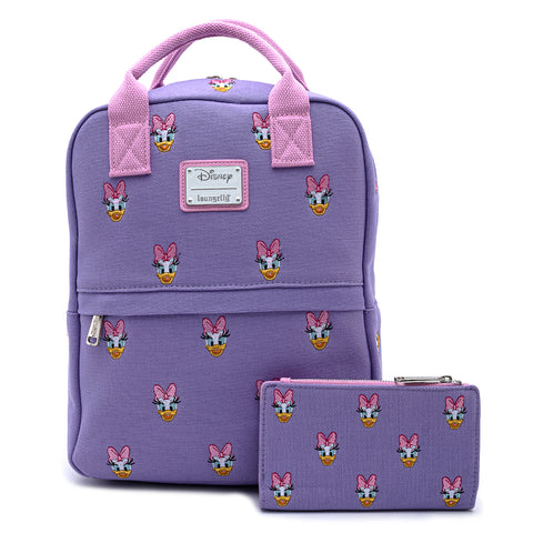 Loungefly X Disney Daisy Duck Embroidered AOP Canvas Backpack