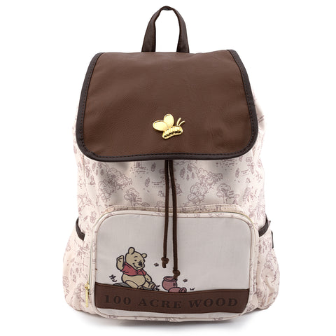 Loungefly X Disney Winnie The Pooh Hundred Acre Woods Nylon Slouch Backpack