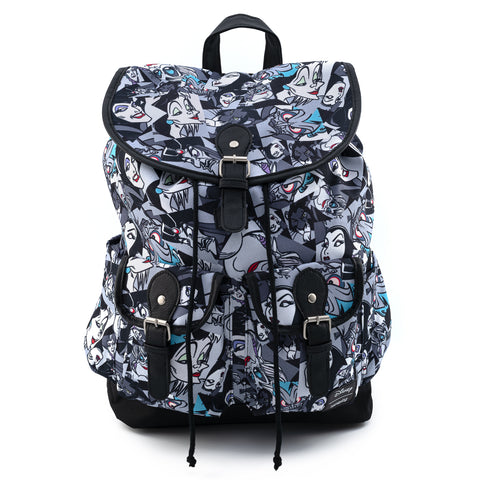 Loungefly X Disney Villains AOP Nylon Slouch Backpack