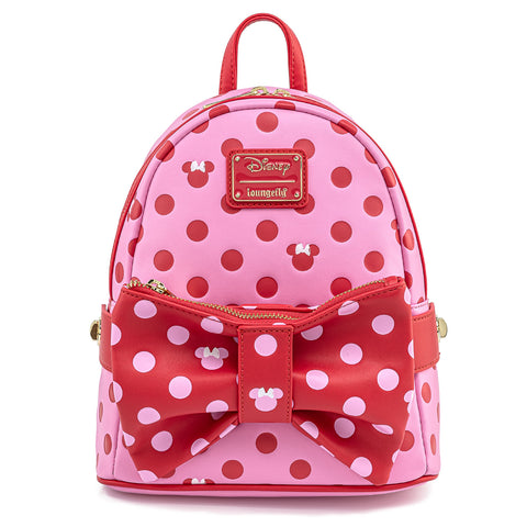 Disney Minnie Mouse Pink & Red Polka Dot Bow Mini Backpack with Fanny Pack