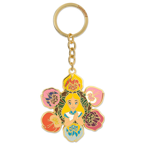 Loungefly X Disney Alice In Wonderland Flower Group Enamel Keychain