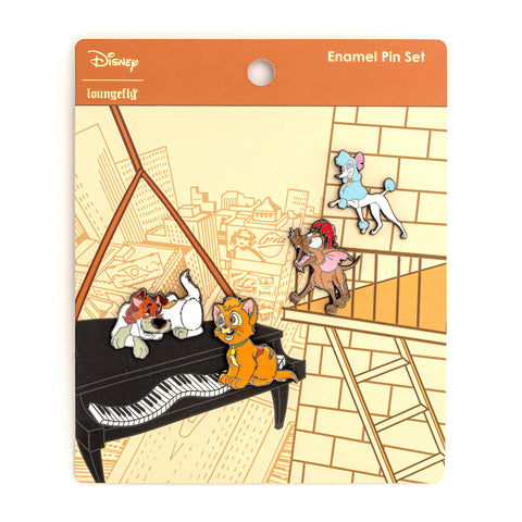 Loungefly X Disney Oliver and Company 4 PC Enamel Pin Set