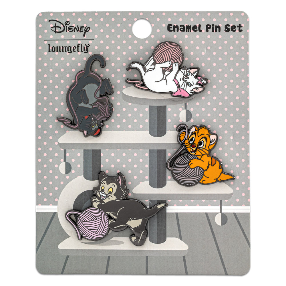 Disney Cats 4pc Enamel Pin Set-zoom