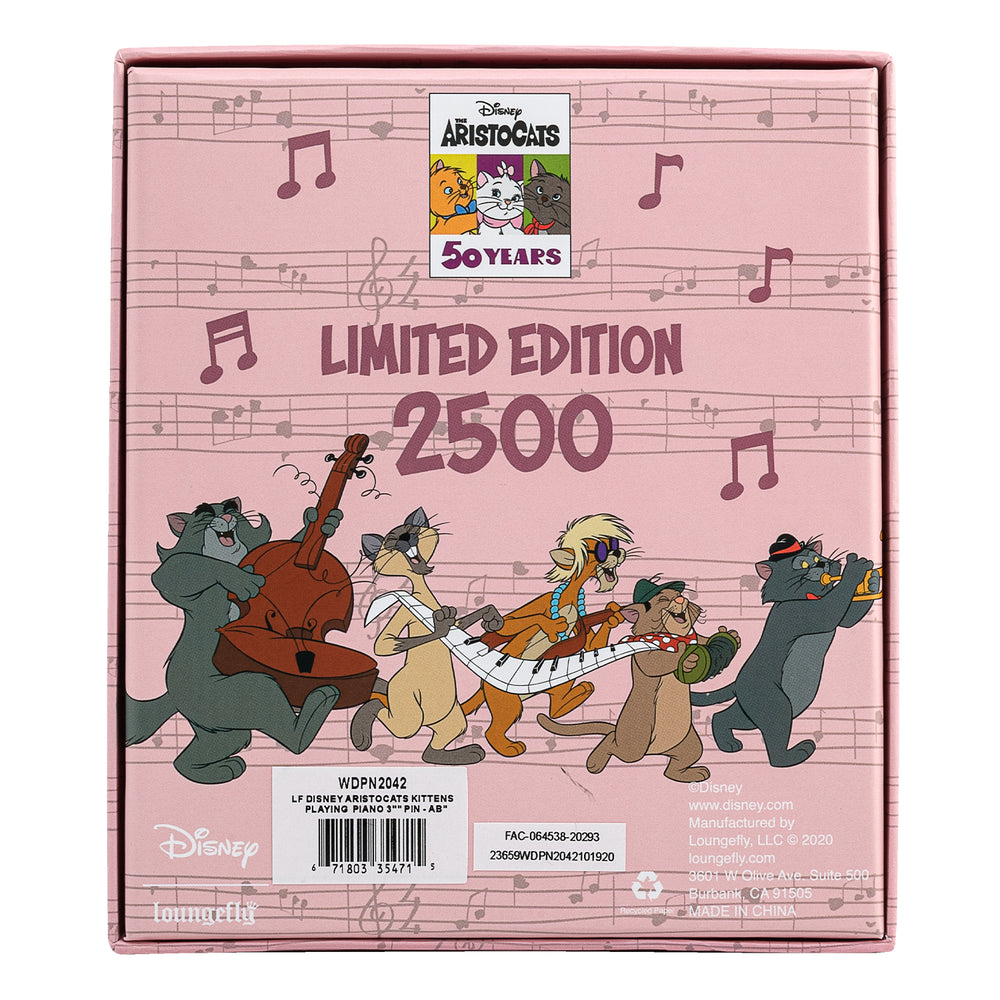 Disney Aristocats Kittens Playing Piano Collector Box Sliding Enamel Pin-zoom