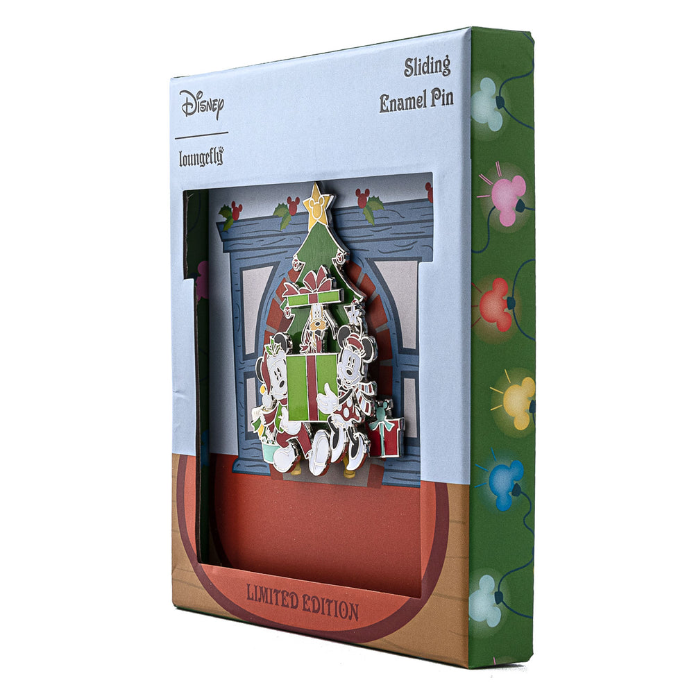 Disney Holiday Mickey & Minnie Mouse Collector Box Sliding Enamel Pin-zoom