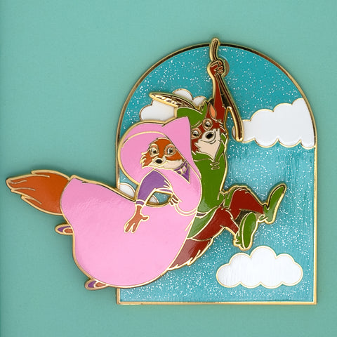 Disney Robin Hood Rescues Maid Marian Collector Box Sliding Enamel Pin