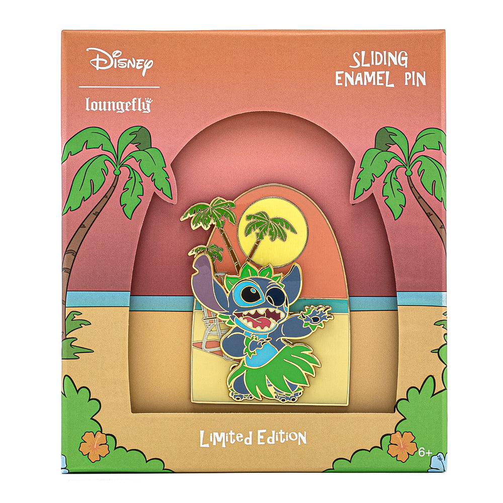 Disney Lilo & Stitch Hula Collector Box Sliding Enamel Pin-zoom
