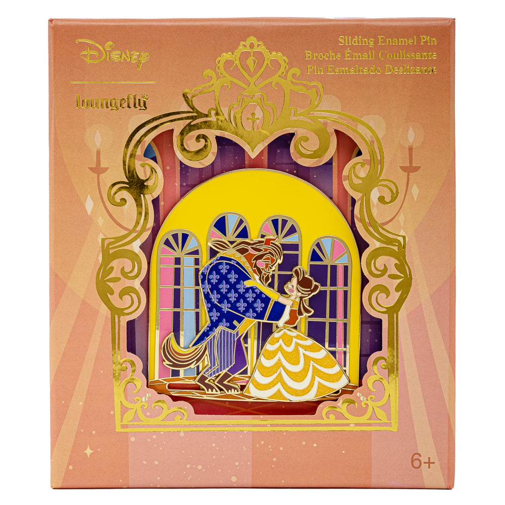Disney Beauty and the Beast Collector Box Sliding Enamel Pin Front  in Box View-zoom