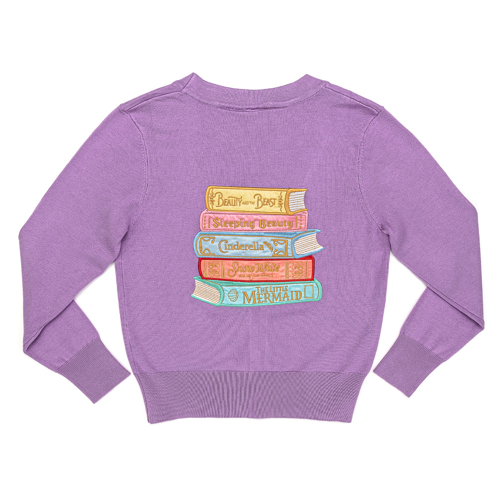 "Disney Stitch Shoppe Princess Books ""Alexa"" Cropped Cardigan Sweater-zoom"