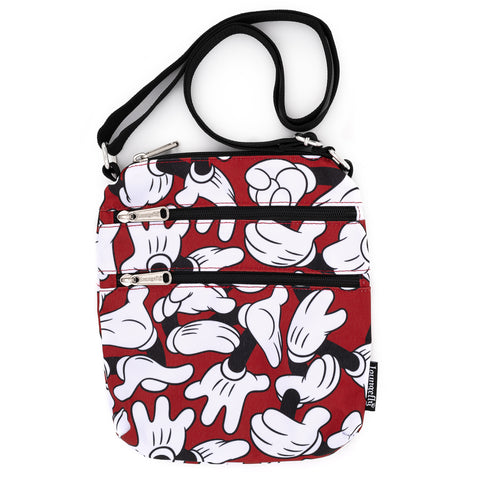 Loungefly X Disney Mickey Mouse Hands AOP Passport Bag