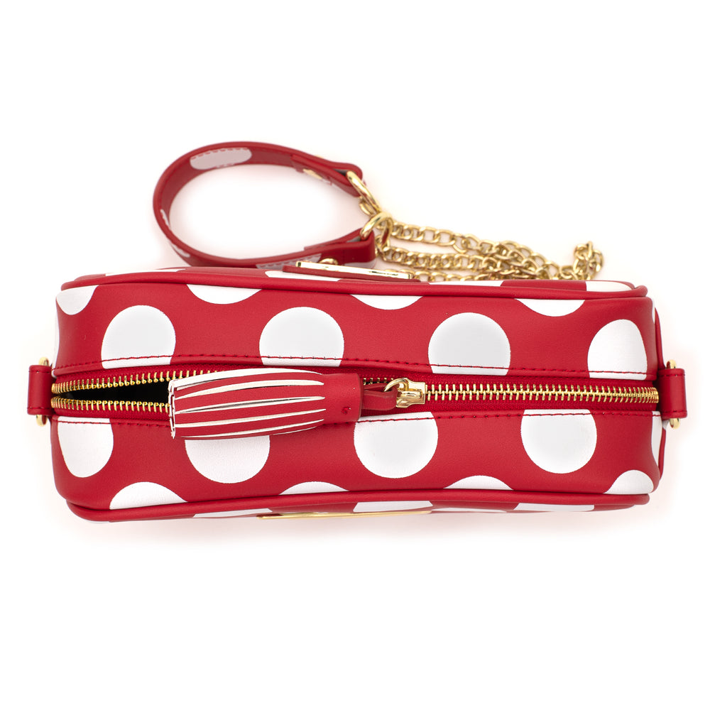 Loungefly X Disney Red and White Polka Dot Logo Crossbody Bag-zoom