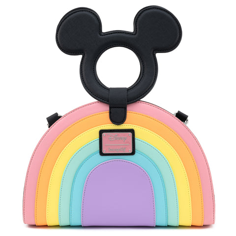 Loungefly X Disney Mickey Mouse Pastel Rainbow Handle Cross Body Bag