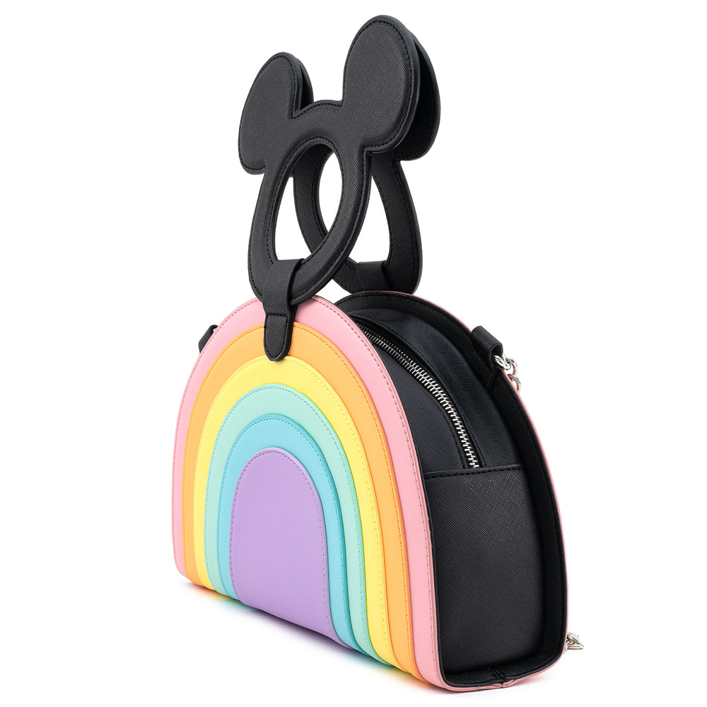 Loungefly X Disney Mickey Mouse Pastel Rainbow Handle Cross Body Bag-zoom